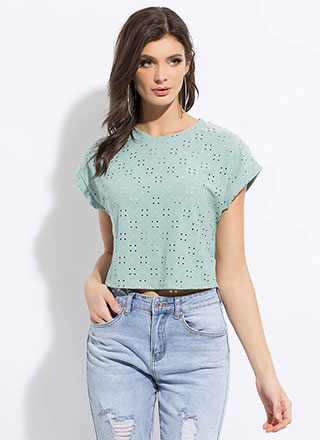Open Your Eyelets Embroidered Top