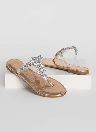 Precious Gem Clear Jeweled Thong Sandals