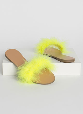 Fur Sure Fuzzy Feathery Slide Sandals