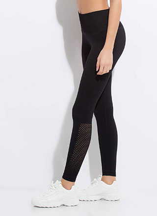 Holed Up At The Gym Mesh Panel Leggings