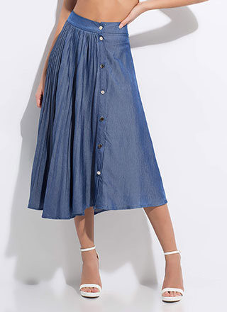 Chic Chambray Asymmetrical Pleated Skirt
