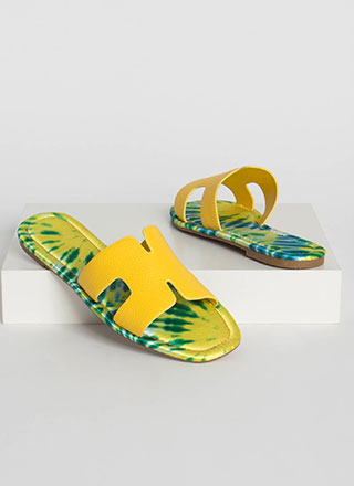 Tie-Dye Paradise Cut-Out Slide Sandals