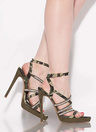 Caged Beauty Printed Jewel Strap Heels
