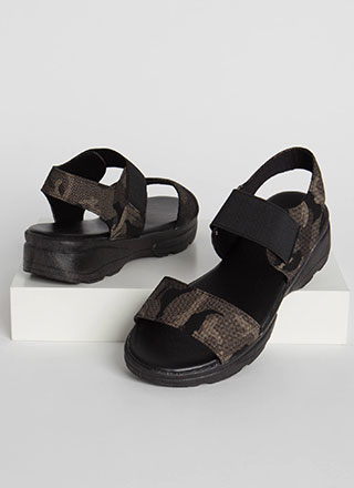 Now You See Me Camo Platform Sandals