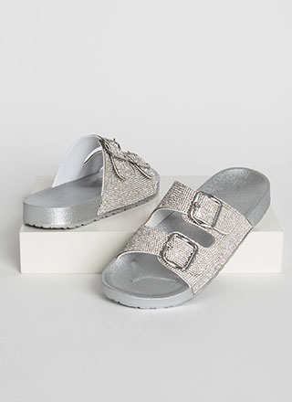 Rhinestone Sparkle Buckled Slide Sandals