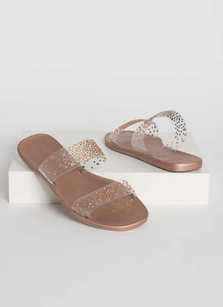 Sparkly Feet Clear Jeweled Slide Sandals