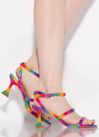 On A Pedestal Strappy Rainbow Heels