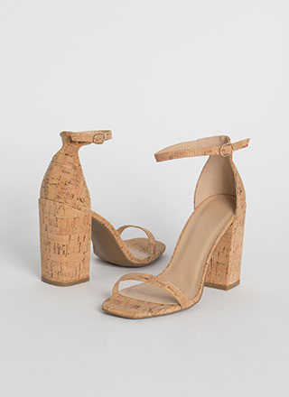 Cork It Over Chunky Ankle Strap Heels