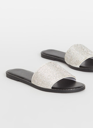 Sparkle Toes Rhinestone Slide Sandals