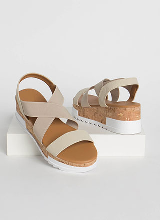 Band Together Cork Wedge Sandals