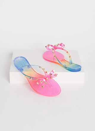 Bow-tiful Studded Ombre Jelly Sandals