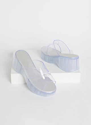 Clear Edge Jelly Wedge Sandals