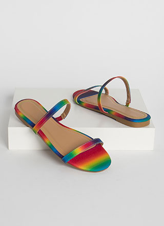 Two Strappy Rainbow Slide Sandals
