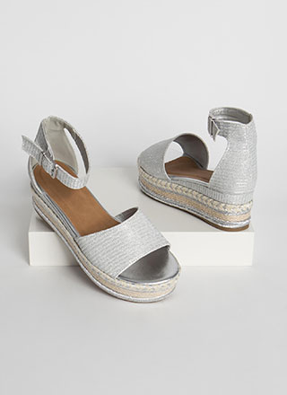 Vacation Sparkly Woven Wedge Sandals