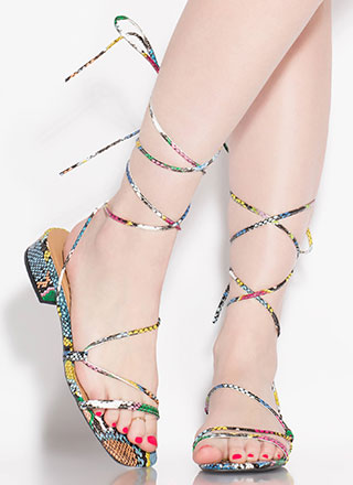 Lace-Up For Life Snake Print Sandals