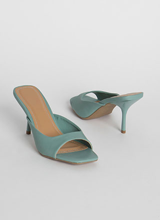 Lady Faux Leather Square-Toe Mule Heels