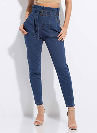 Denim Queen Belted Paper-Bag Trousers