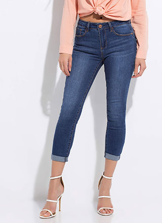Cuffed Together Cropped Butt-Lift Jeans