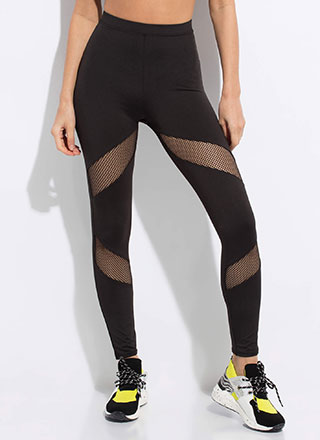 Fishnet Gains Mesh Contrast Leggings