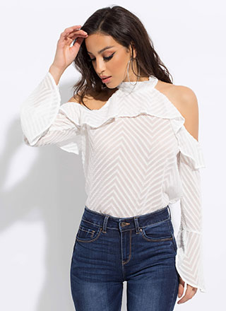 Chic Chevron Ruffled Cold-Shoulder Top