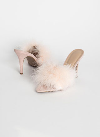 Soft And Feathery Furry Mule Heels