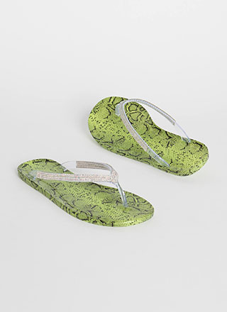 You Snake Jeweled Jelly Thong Sandals