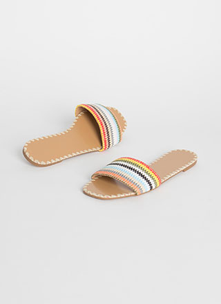 Take Me Striped Woven Slide Sandals