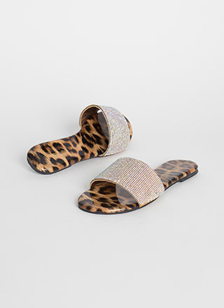 Treasure Jeweled Leopard Slide Sandals