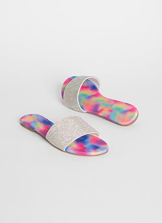 Treasure Jeweled Tie-Dye Slide Sandals