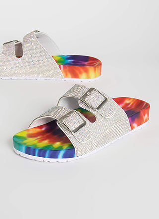 Sparkly Rainbow Rhinestone Slide Sandals