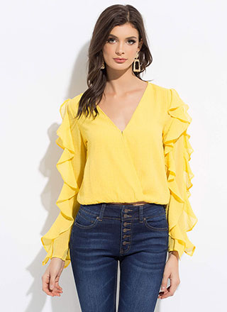 Ruffle All The Way Frilly Blouse