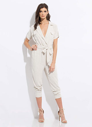 Safari Chic Tied Jogger Jumpsuit