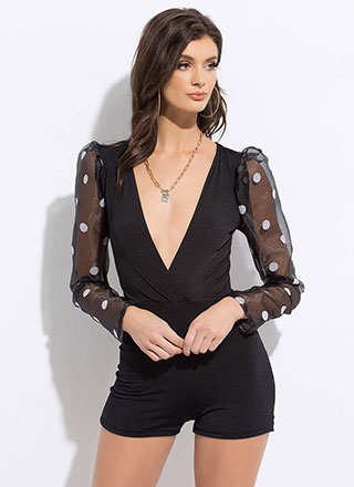 Go In Circles Polka Dot Sleeve Romper