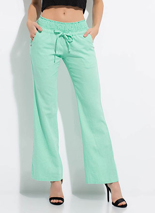Cool Comfort Low-Rise Wide-Leg Trousers