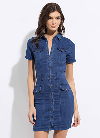 Denim On The Daily Button-Up Dress