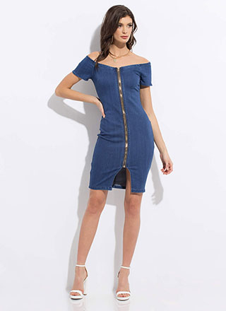 Zip It Up Off-Shoulder Denim Midi Dress
