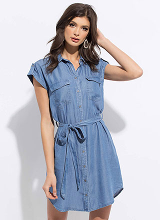 Chambray Chicness Tied Shirt Dress
