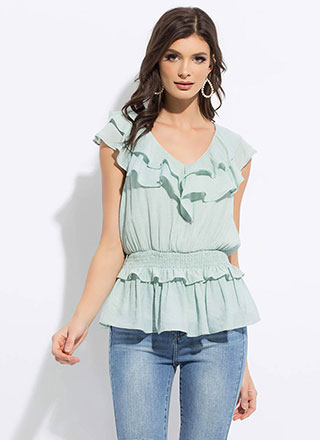 Flirty And Frilly Ruffled Peplum Top