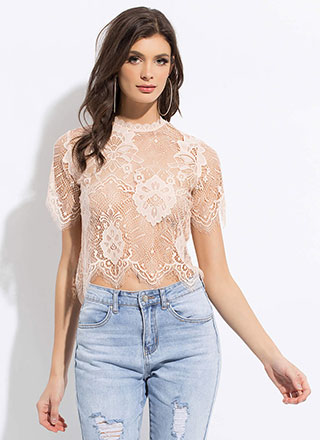 Nothing But Lace Sheer Scalloped Top