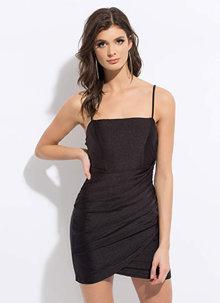 Night Out Draped Tulip Hem Minidress