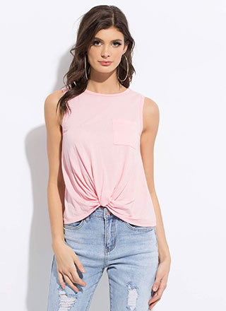 Basic With A Twist Knotted Hem Tank Top