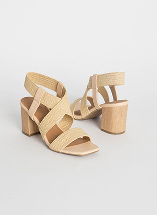 Yes I Wood Woven Strap Caged Heels