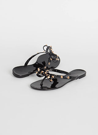You Bow Girl Studded Jelly Thong Sandals