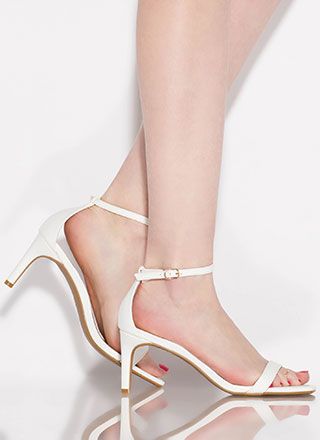 Perfect Faux Leather Ankle Strap Heels