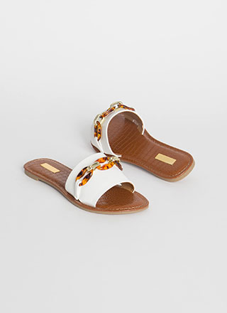Form A Chain Faux Leather Slide Sandals