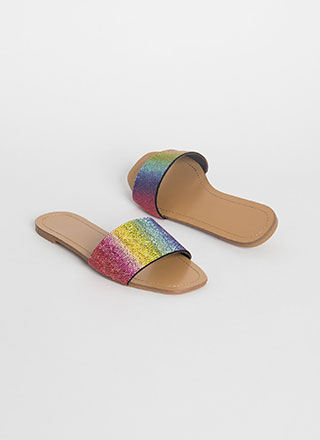 Glitz Jeweled Rainbow Slide Sandals