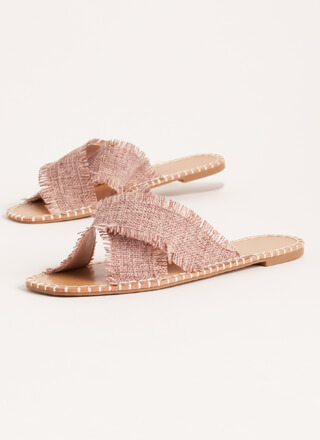 X On The Beach Fringed Slide Sandals