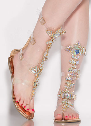 Clear Winner Jeweled Gladiator Sandals