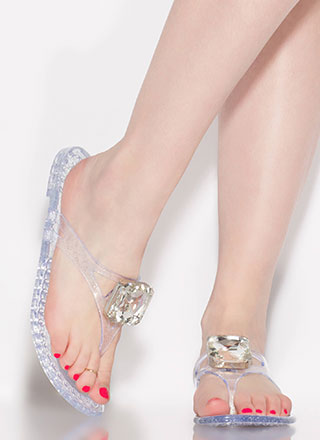 Jewel Thief Glittery Jelly Thong Sandals