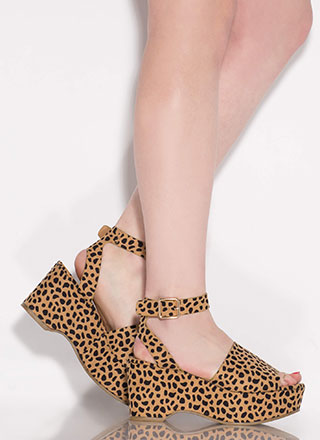 Day Date Spotted Ankle Strap Wedges